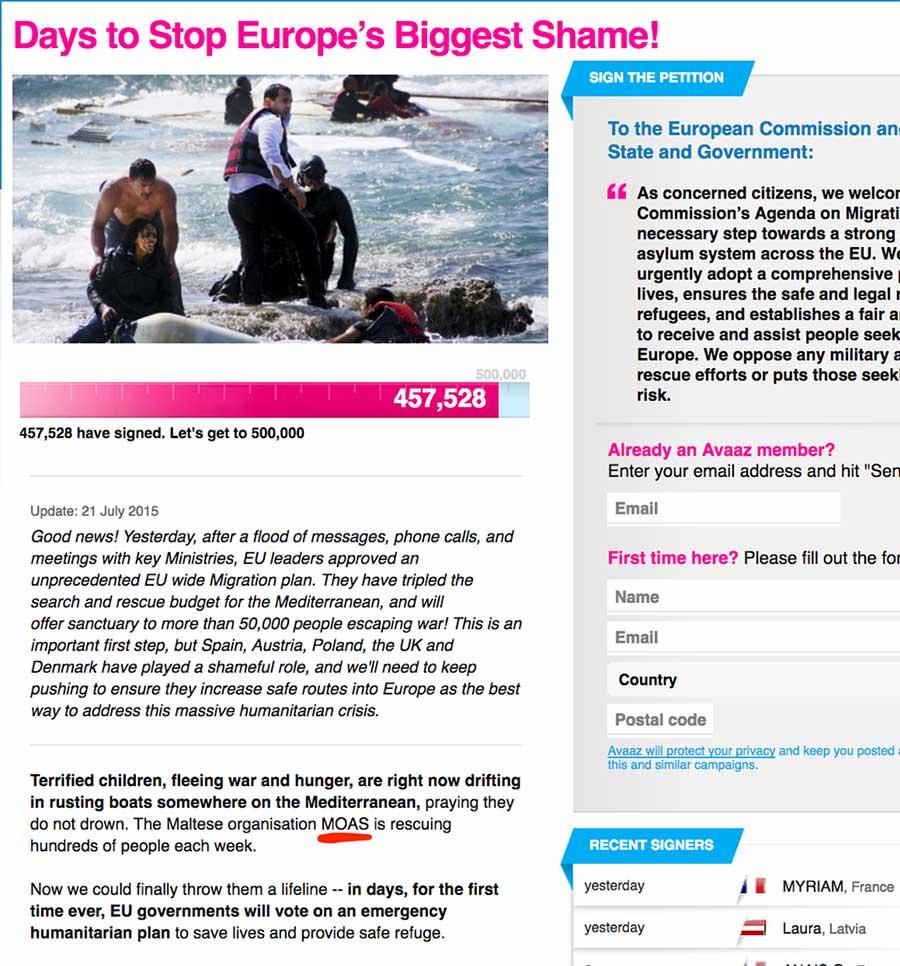 MOAS Petizione Avaaz